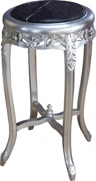 Table Casa Padrino Baroque Avec Dessus En Marbre Rond Argent Noir