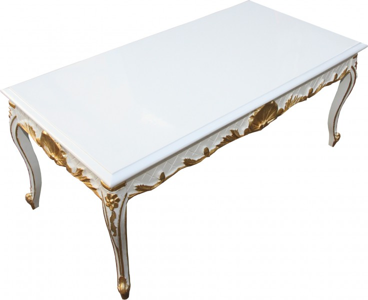 Casa padrino baroque table basse blanc or 120 x 60 cm for Table basse hauteur 60 cm