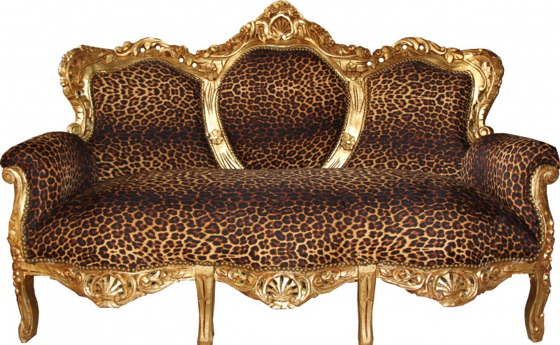"Casa Padrino baroque 3 places Leopard / Or ""King""- Meubles antiques"