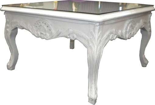 Meubles Baroques casa padrino table basse baroque blanc 80 x 80 cm - table basse