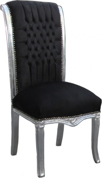 casa padrino baroque chaise haute pour table de retour noir argent des meubles de with chaise. Black Bedroom Furniture Sets. Home Design Ideas