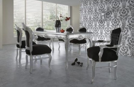 casa padrino baroque ensembles de diner noir argent argent table manger 6 chaises. Black Bedroom Furniture Sets. Home Design Ideas