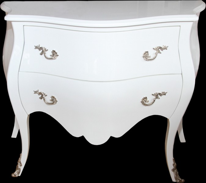 Casa Padrino commode baroque 100 cm blanc brillant