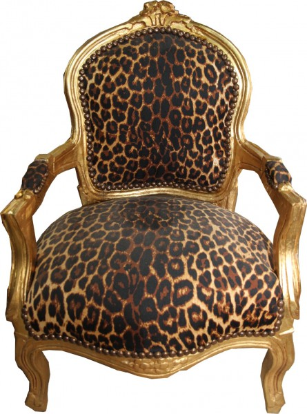 Casa Padrino baroque chaise Leopard / Or - Fauteuil - Meubles antiques