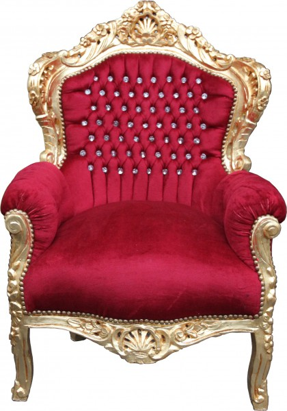 "Casa Padrino baroque Fauteuil ""King"" Bordeaux / or avec strass Bling Bling"