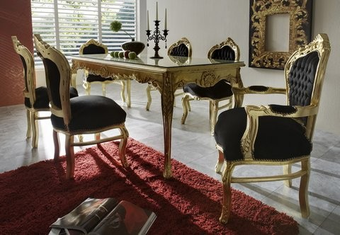 casa padrino baroque dinner set noir or table manger 6 chaises
