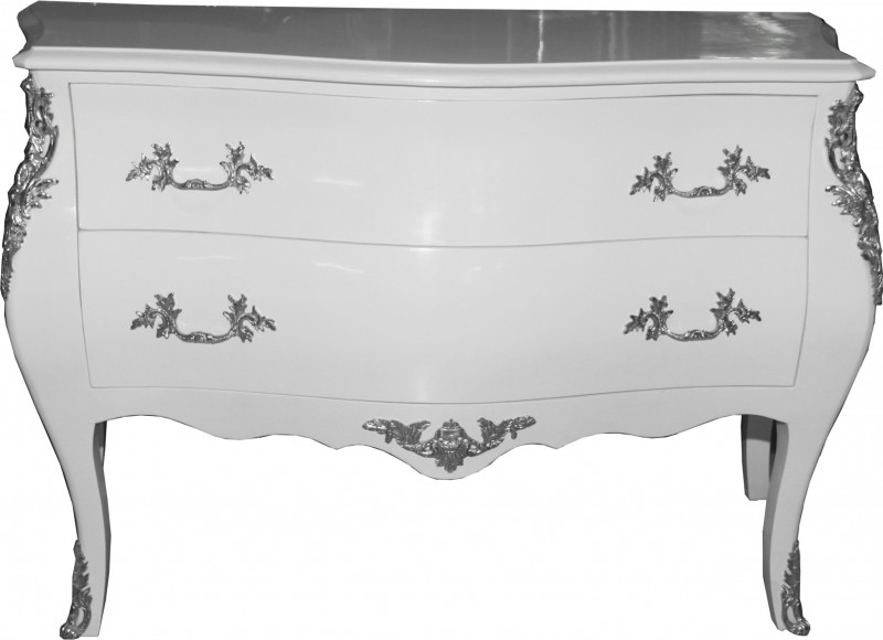 Commode baroque main en blanc faite par casa padrino - Maison du monde commode baroque ...