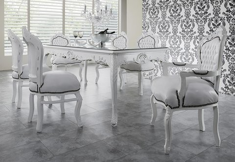 casa padrino baroque ensembles de diner blanc blanc table manger 6 chaises. Black Bedroom Furniture Sets. Home Design Ideas