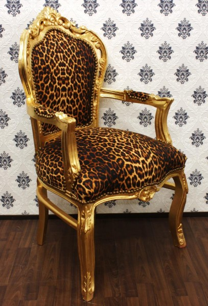 Casa padrin baroque d ner pr sident leopard or avec accoudoirs for Chaise baroque avec accoudoir
