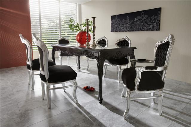 Casa Padrino Baroque Dinner Set Noir Argent Table A Manger 6 Chaises