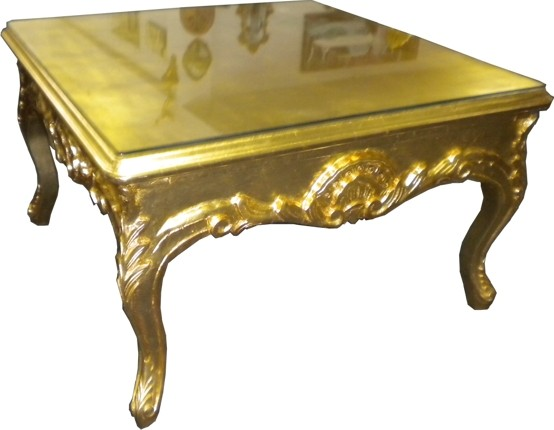 Casa padrino table basse baroque or 80 x 80 cm table - Table basse 80 x 80 ...