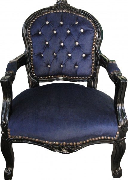 chaise casa padrino royale baroque bleu noir avec strass bling bling meubles pour enfants. Black Bedroom Furniture Sets. Home Design Ideas