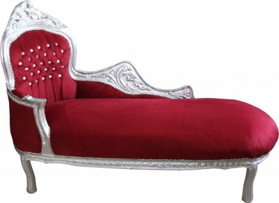 "Casa Padrino chaise longue baroque ""King"" Bordeaux Rouge / Argent Bling Bling strass Mod2"