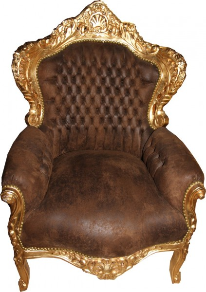 Casa Padrino baroque Fauteuil brun aspect cuir / Or - Mobilier